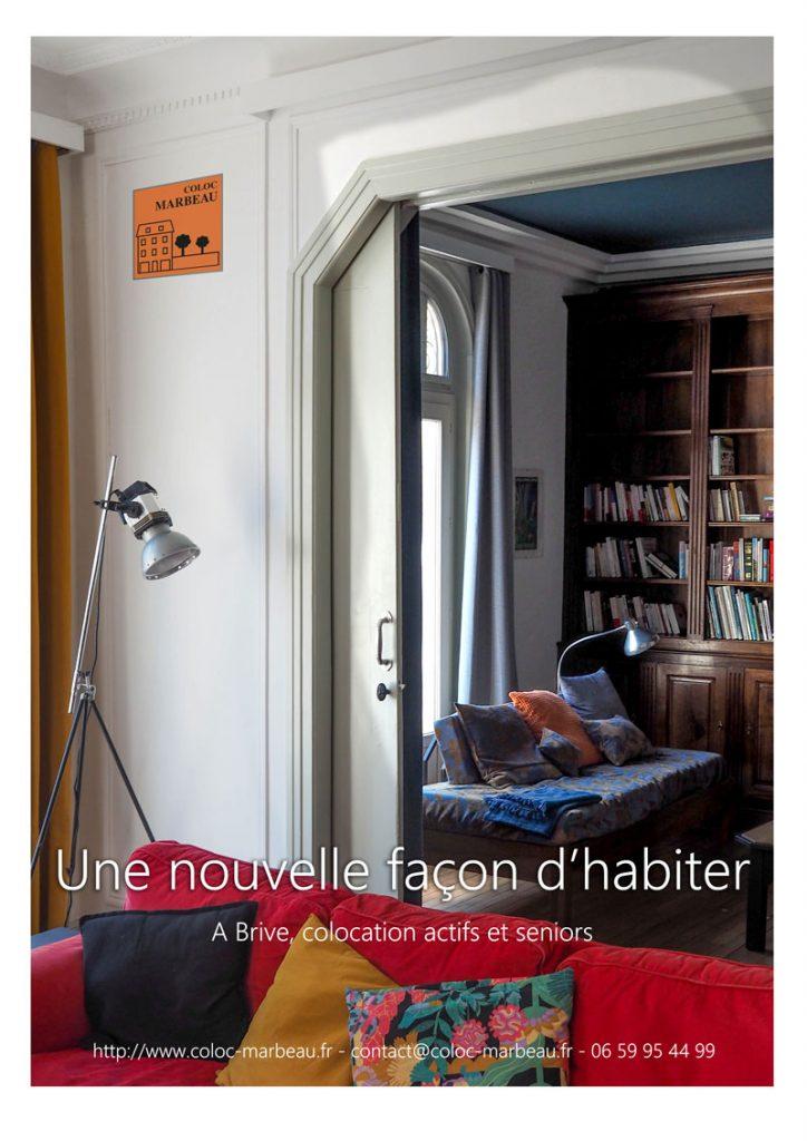 Coloc Marbeau, une nouvelle façon d'habiter - salon et bibliothèque